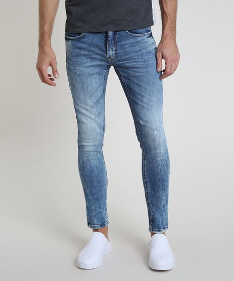 Calca-Jeans-Masculina-Skinny-com-Puidos-e-Bolsos-Azul-Medio-9884262-Azul_Medio_1