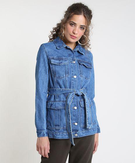 Jaqueta-Jeans-Feminina-Longa-com-Bolsos-e-Faixa-para-Amarrar-Azul-Medio-9889638-Azul_Medio_1