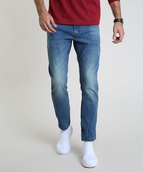 Calca-Jeans-Masculina-Reta-com-Puidos-e-Bolsos-Azul-Medio-9877890-Azul_Medio_1
