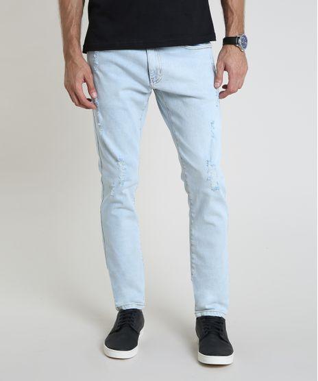 Calca-Jeans-Masculina-Slim-com-Puidos-e-Bolsos-Azul-Claro-9914494-Azul_Claro_1