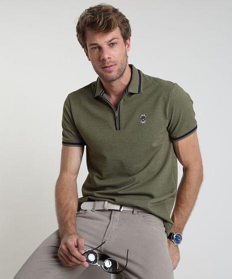 Polo-Masculina-Comfort-em-Piquet-com-Ziper-Manga-Curta-Verde-Militar-9869014-Verde_Militar_1