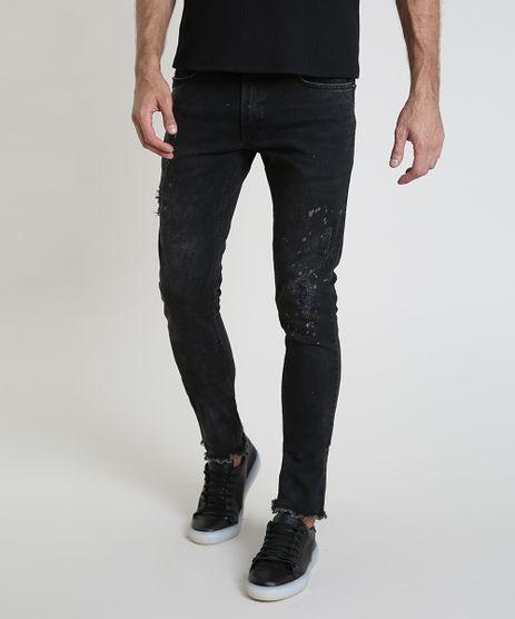 Calca-Jeans-Masculina-Skinny-com-Puidos-e-Barra-Desfiada-Preta-9910599-Preto_1