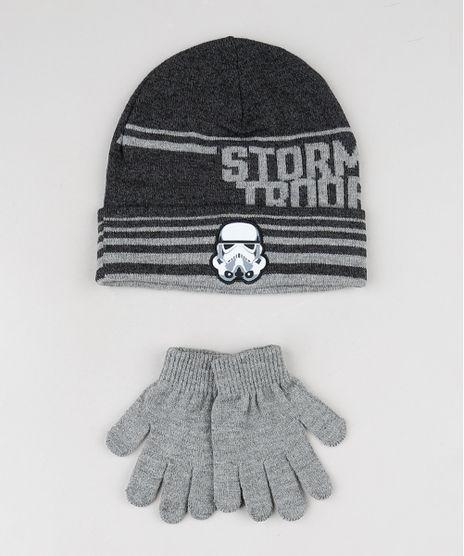Kit-Infantil-de-Gorro-Stormtrooper-Star-Wars-Cinza-Mescla-Escuro---Luva-em-Trico-Cinza-Mescla-9784919-Cinza_Mescla_1