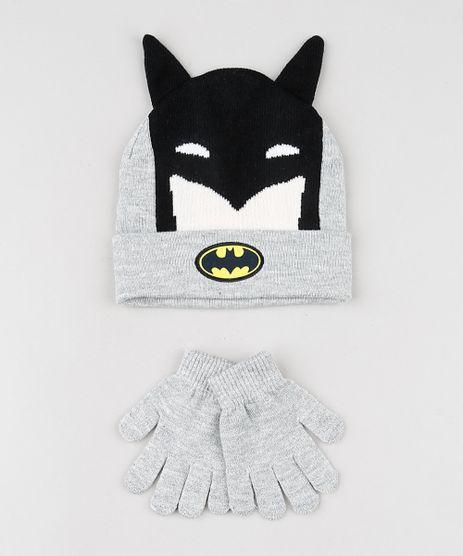 Kit-Infantil-de-Gorro-Batman-com-Orelhinhas-Cinza-Mescla---Luva-em-Trico-Cinza-Mescla-9784903-Cinza_Mescla_1