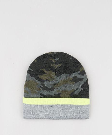 Gorro-Infantil-em-Trico-Estampado-Camuflado-com-Neon-Verde-Militar-9785292-Verde_Militar_1