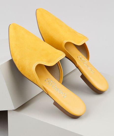 Mule-Feminino-Via-Uno-Bico-Fino-em-Suede--Amarelo-9920608-Amarelo_1