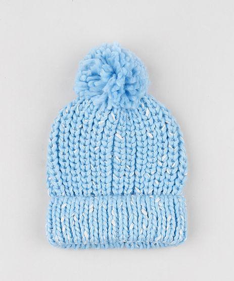Gorro-Infantil-em-Trico-com-Lurex-e-Pompom-Azul-Claro-9780625-Azul_Claro_1