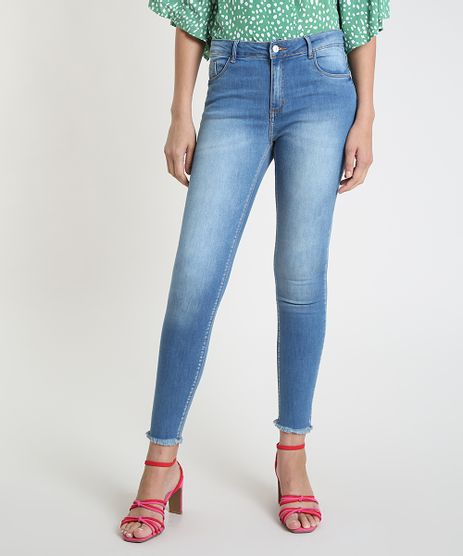 Calca-Jeans-Feminina-Super-Skinny-Cintura-Alta-Barra-Desfiada-Azul-9537869-Azul_1