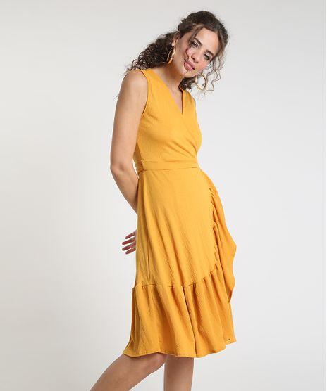 Vestido-Feminino-Midi-Envelope-Texturizado-com-Babado-Sem-Manga-Mostarda-9897380-Mostarda_1