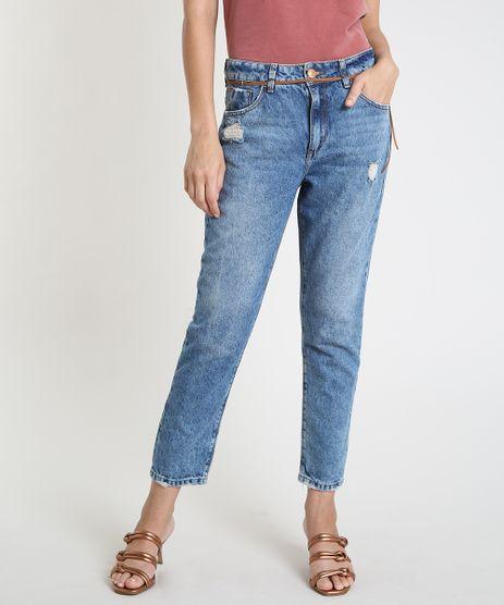 Calca-Jeans-Feminina-Mom-Cintura-Super-Alta-Destroyed-com-Cinto-Azul-Medio-9889656-Azul_Medio_1