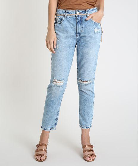 Calca-Jeans-Feminina-Mom-Cintura-Super-Alta-Destroyed-com-Cinto-Azul-Claro-9889657-Azul_Claro_1
