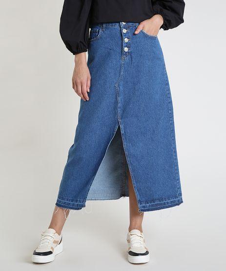Saia-Jeans-Feminina-Longa-com-Fenda-e-Botoes-Azul-Escuro-9932896-Azul_Escuro_1