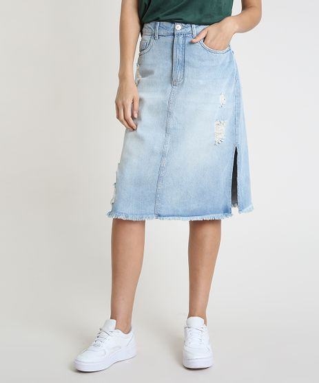 Saia-Jeans-Feminina-Midi-Destroyed-com-Barra-Desfiada-Azul-Claro-9885759-Azul_Claro_1
