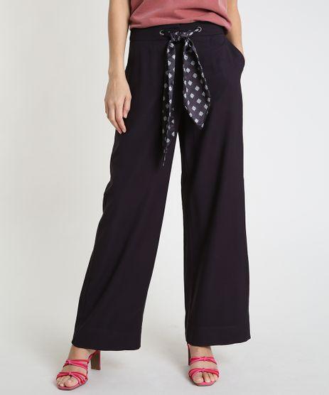 Calca-Feminina-Pantalona-com-Cinto-Estampado--Preta-9818105-Preto_1