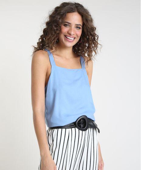 Regata-Feminina-Ampla-com-Linho-Alca-Media-Decote-Reto-Azul-Claro-9908762-Azul_Claro_1