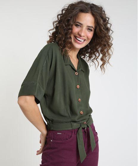 Camisa-Feminina-Bluse-com-No-Manga-Curta-Verde-Escuro-9875319-Verde_Escuro_1