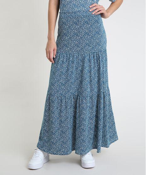 Saia-Feminina-Longa-Estampada-Floral-com-Recortes--Azul-Petroleo-9879955-Azul_Petroleo_1