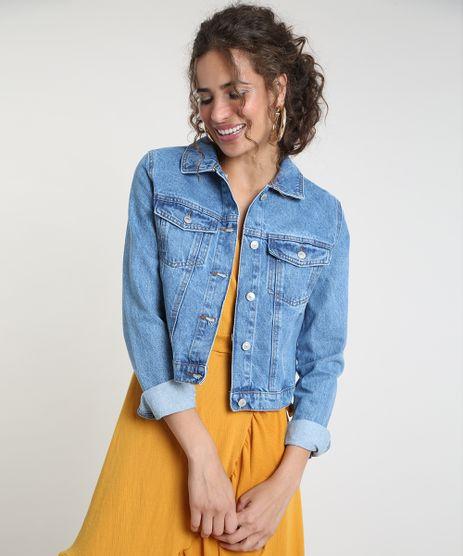 Jaqueta-Jeans-Feminina-Cropped-com-Bolsos-Azul-Medio-9940592-Azul_Medio_1
