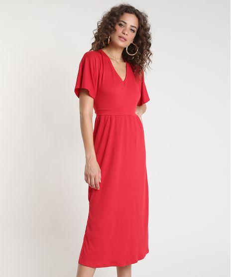 Vestido-Feminino-Midi-Texturizado-com-Fenda-Manga-Curta-Vermelho-9899556-Vermelho_1