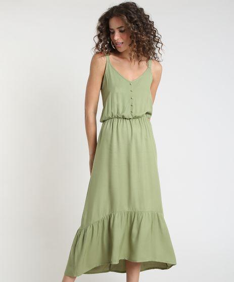 Vestido-Feminino-Midi-com-Recorte-e-Botoes-Alca-Fina-Verde-9912185-Verde_1