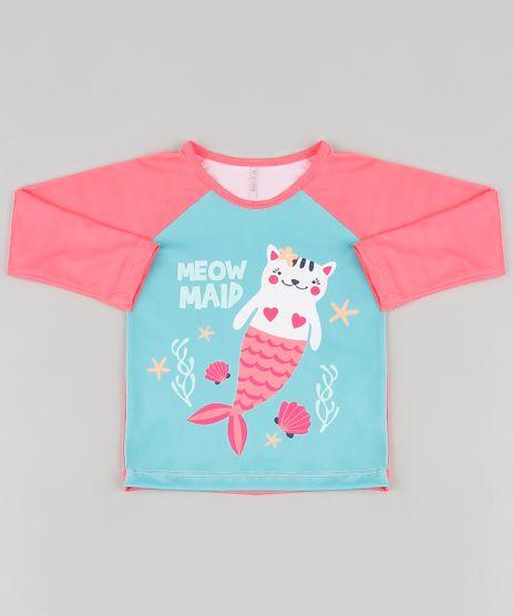 Blusa-de-Praia-Infantil-Raglan-Gata-Sereia-Manga-Longa-com-Protecao-UV50--Coral-Neon-9889429-Coral_Neon_1