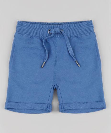 Bermuda-Infantil-em-Moletom-com-Cordao-e-Bolsos-Azul-9791583-Azul_1