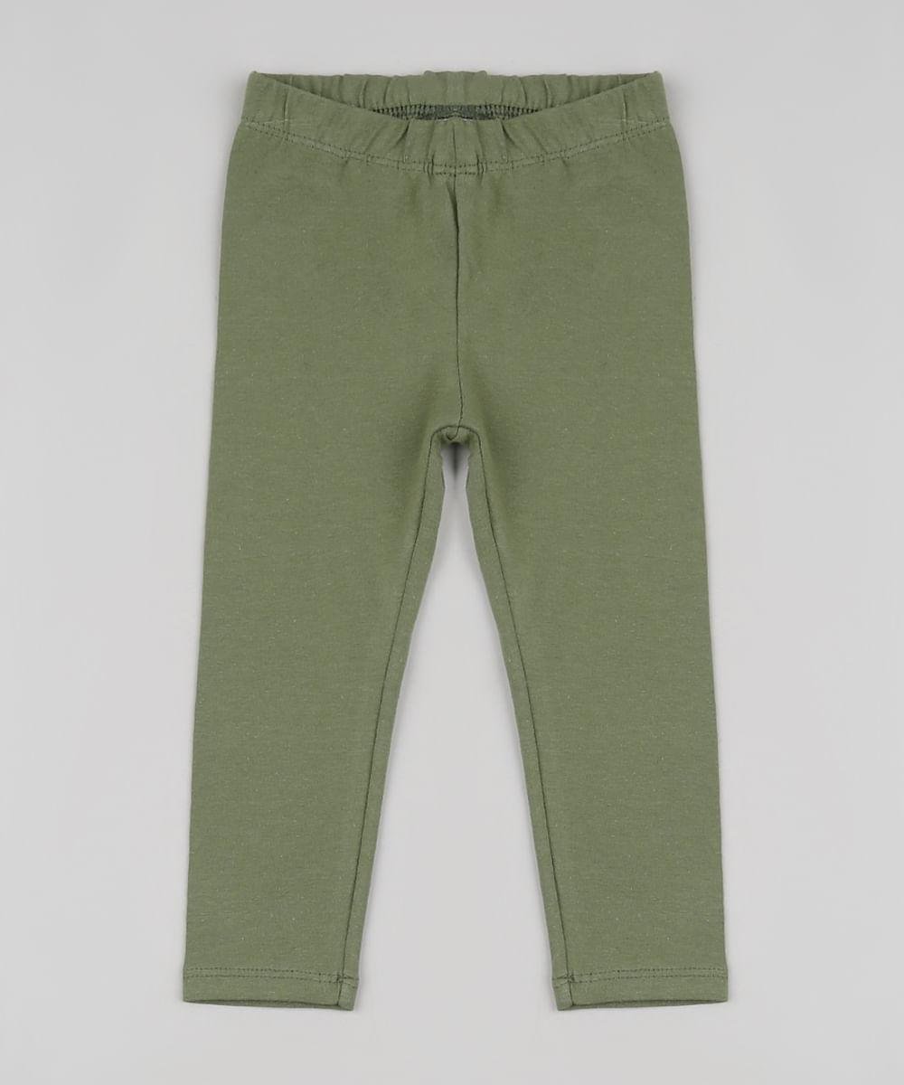 Calça Legging Infantil Básica Verde Militar