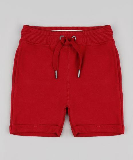 Bermuda-Infantil-em-Moletom-com-Cordao-e-Bolsos-Vermelha-9791583-Vermelho_1