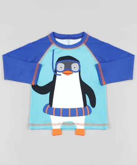 Camiseta-de-Praia-Infantil-Raglan-Pinguim-Manga-Longa-com-Protecao-UV50--Azul-Royal-9888620-Azul_Royal_1