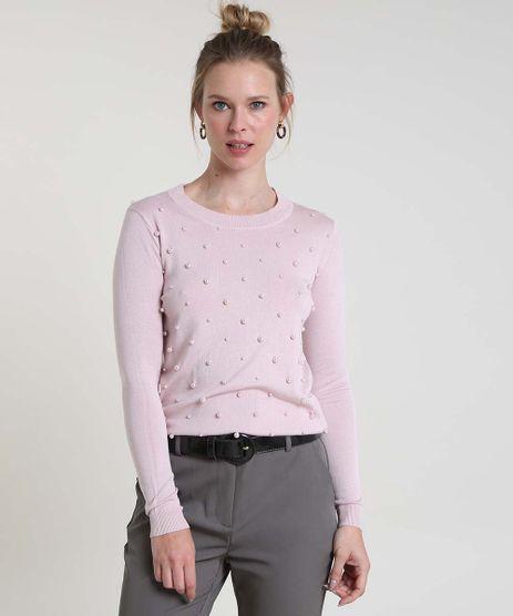 Sueter-Feminino-Basico-em-Trico-com-Perolas-Decote-Redondo--Rosa-9804202-Rosa_1