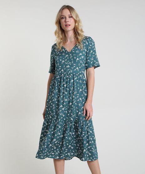 Vestido-Feminino-Midi-Estampado-Floral-Manga-Curta-Verde-Escuro-9906003-Verde_Escuro_1