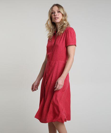 Vestido-Chemise-Feminino-Midi-Estampado-de-Poa-Manga-Curta-Vermelho-9906005-Vermelho_1