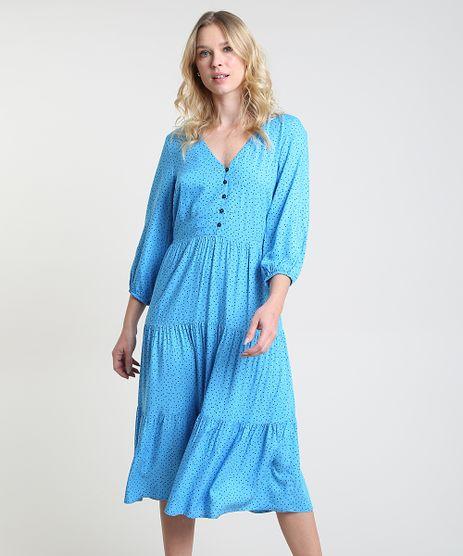 Vestido-Feminino-Midi-Estampado-de-Poa-Manga-Longa-Azul-9906001-Azul_1
