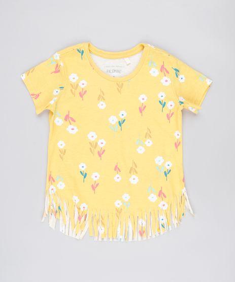 Blusa-Infantil-Estampada-Floral-com-Franjas-Manga-Curta-Amarela-9879889-Amarelo_1