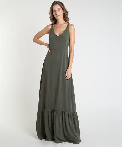 Vestido-Feminino-Mindset-Longo-com-Recorte-Alca-Media-Verde-Militar-9946228-Verde_Militar_1