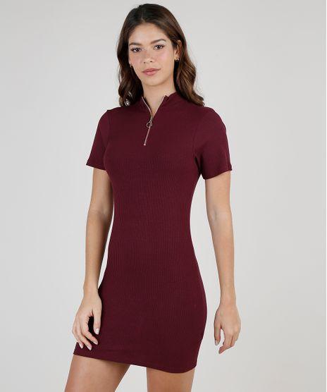 Vestido-Feminino-Curto-Canelado-com-Ziper-Manga-Curta-Gola-Alta-Vinho-9886202-Vinho_1