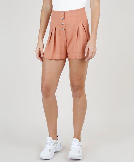 Short-Feminino-Cintura-Super-Alta-com-Pregas-e-Botoes-Laranja-Claro-9920327-Laranja_Claro_1