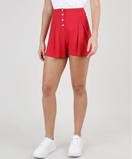 Short-Feminino-Cintura-Super-Alta-com-Pregas-e-Botoes-Vermelho-9920327-Vermelho_1
