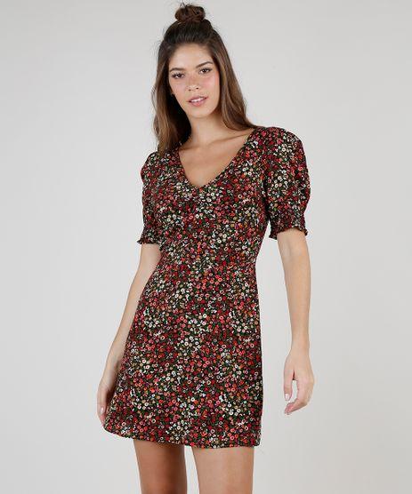 Vestido-Feminino-Curto-Estampado-Floral-com-Franzido-Manga-Bufante-Preto-9824410-Preto_1