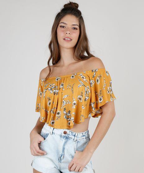 Blusa-Feminina-Ciganinha-Cropped-Estampada-Floral-Manga-Curta-Mostarda-9937452-Mostarda_1