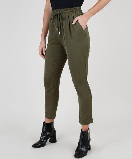 Calca-Feminina-Cintura-Alta-com-Cordao-e-Bolsos-Verde-Militar-9830377-Verde_Militar_1