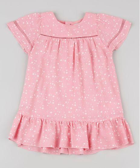 Vestido-Infantil-Estampado-de-Estrelas-Manga-Curta-Rosa-9796110-Rosa_1