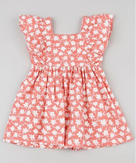 Vestido-Infantil-Estampado-Floral-com-Babado-na-Manga-Coral-9936140-Coral_1