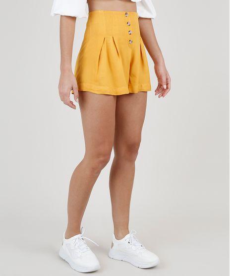 Short-Feminino-Cintura-Super-Alta-com-Pregas-e-Botoes-Mostarda-9920327-Mostarda_1