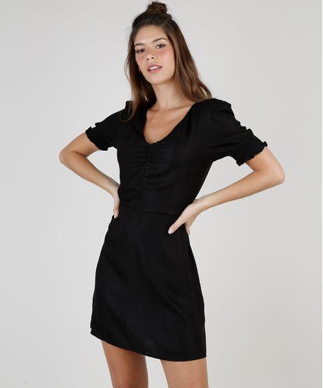 Vestido-Feminino-Curto-com-Franzido-Manga-Bufante-Preto-9824411-Preto_1