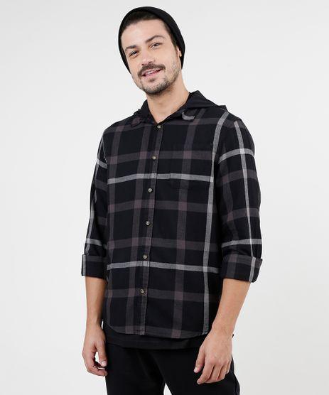 Camisa-Masculina-Tradicional-Estampada-Xadrez-em-Flanela-com-Capuz-Removivel-Manga-Longa-Preta-9383068-Preto_1