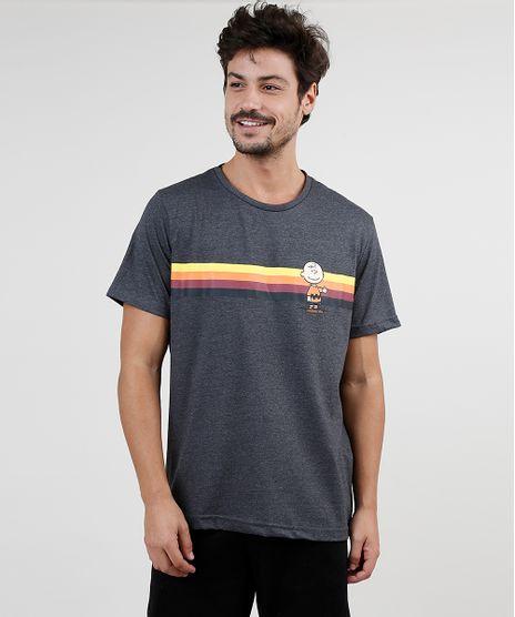 Camiseta-Masculina-Charlie-Brown-Snoopy-Manga-Curta-Gola-Careca-Cinza-Mescla-Escuro-9926846-Cinza_Mescla_Escuro_1