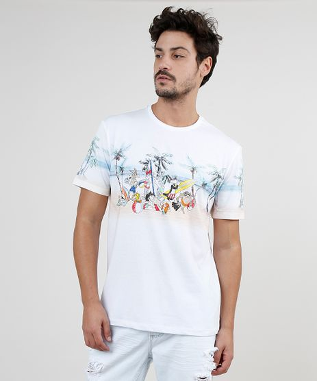 Camiseta-Masculina-Looney-Tunes-na-Praia-Manga-Curta-Gola-Careca-Branca-9885394-Branco_1