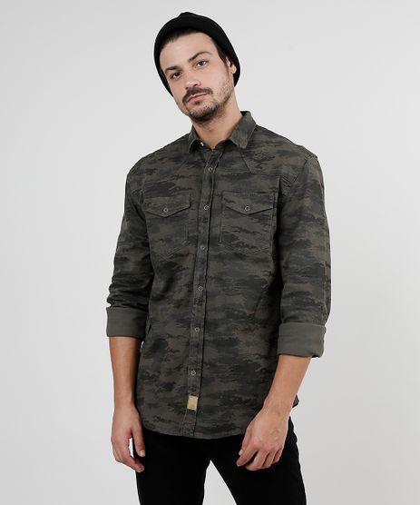 Camisa-de-Sarja-Masculina-Tradicional-Estampada-Camuflada-com-Bolsos-Manga-Longa-Verde-Militar-9942756-Verde_Militar_1