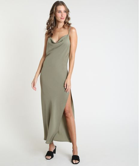 Vestido-Slip-Dress-Feminino-Mindset-Longo-com-Fenda-Alca-Fina-Gola-Degage-Verde-Militar-9946474-Verde_Militar_1